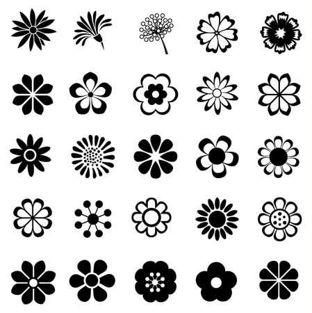 conjunto de vectores de flores, flores icono