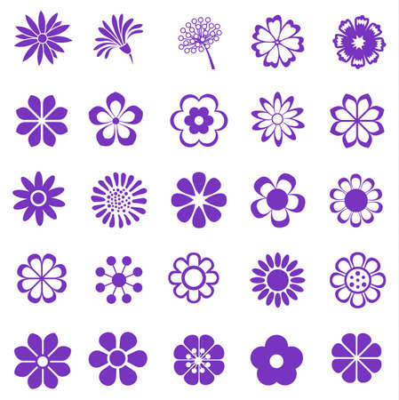 purple flower vector set, flowers icon Vector