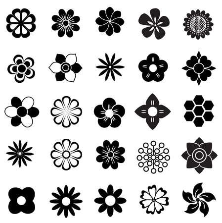 conjunto de vectores de flores, flores icono Vectores