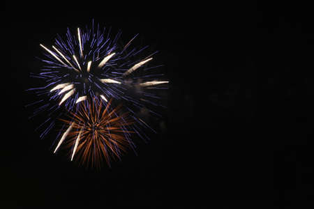 fire works: beautiful firework of celebration, festival, holiday, season on black sky Stock Photo