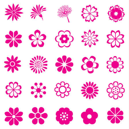 pink flower vector set, flowers icon Vector