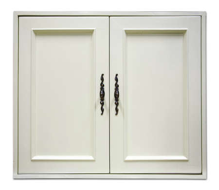 beautiful white wooden door of modern cupboard on white background