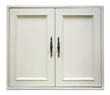 Bella porta di legno bianco di credenza moderna su sfondo bianco Archivio Fotografico - 25966921