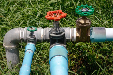 water valve with separate supply pipes with brass, joint of metal pipeline with Plumbing PVC