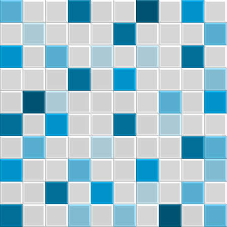 blue square tile texture of wall and floor, tile interior of bathroom, pool, kitchen, vecto Stock Illustratie