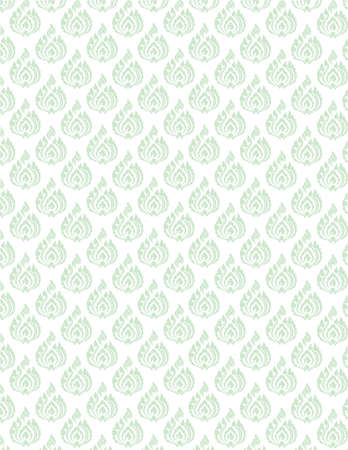 seem: beautiful green Thai pattern seem floral, fern, leaves, lotus and fire pattern on white background for page and ground-paper