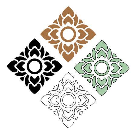 beautiful flower vector set of Thai pattern art on white background