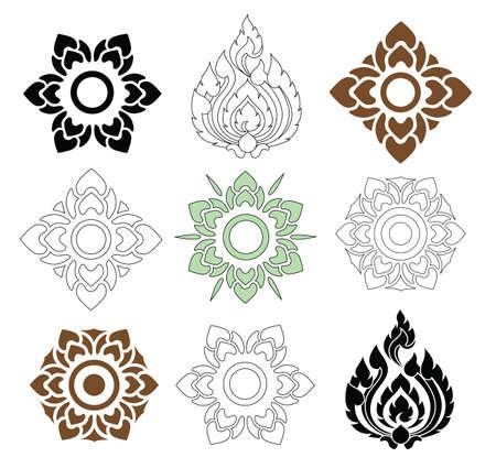 kelet ázsiai kultúra: gyönyörű virág és a levelek a thai mintás, fehér, háttér, vektor készlet