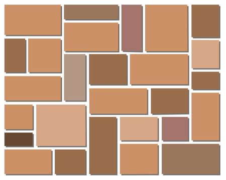 beautiful square of stone block has brown color for tile floor, wall block or background Illustration