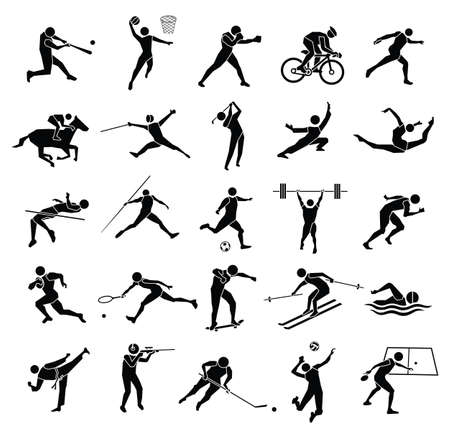 beautiful silhouette sport icon set in white background, vector set Çizim