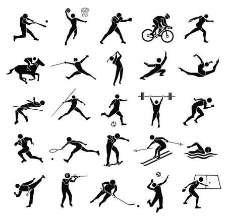 icono deportes: Icono de hermoso deporte Conjunto de la silueta en el fondo blanco, conjunto de vectores
