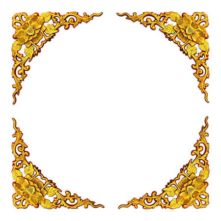 beautiful gold floral pattern carving on white background for frame photo