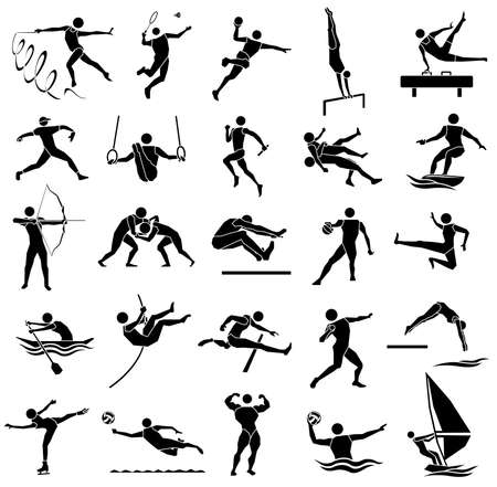 edge style of silhouette sport icon set in white background