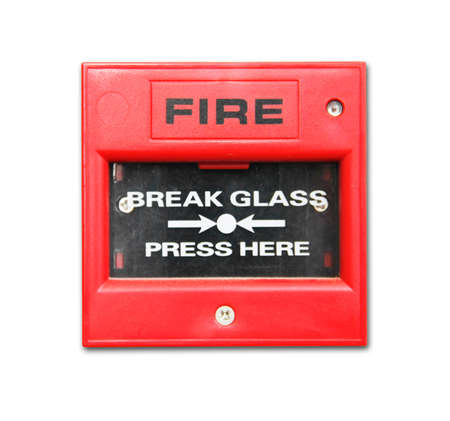 isolate red fire alarm box on white background