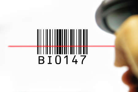 checkout line: scanner scanning barcode on with background for business sale and customer buy