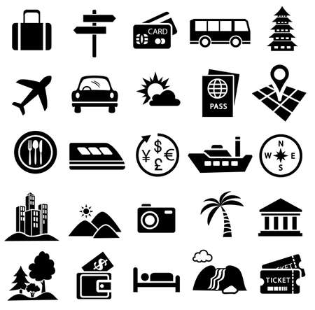 viaje icono conjunto de turismo vacacional, lugar, transporte, avión, coche, tren, autobús, barco, mapa y dinero