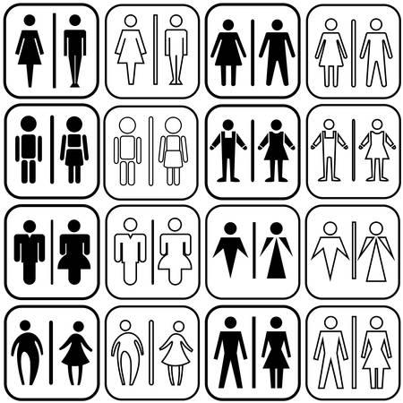 modern style of toilet sign with men, women in art style design, vector set Vetores