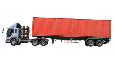 isolate red shipping container on trailer truck for logistic\ business and industry cargo