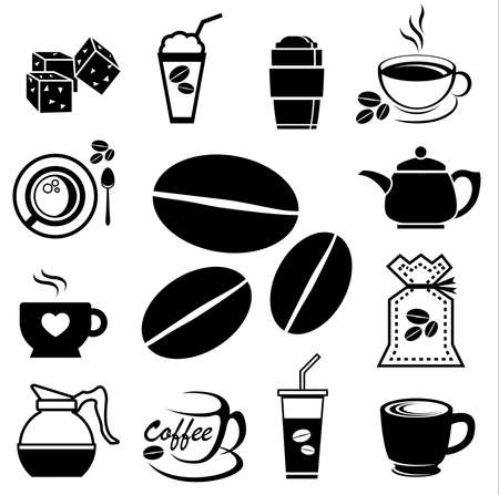 coffee icon set with accessory and ingredient of bean, jar, cup, jug, glass, sugar, bag, mug of break foods for relaxation,works and fresh mind and good idea Vector