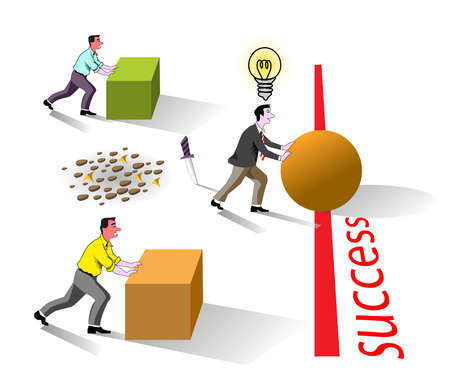 metaphor of business brain work for success best idea, well creative bright concept competition work Illustration