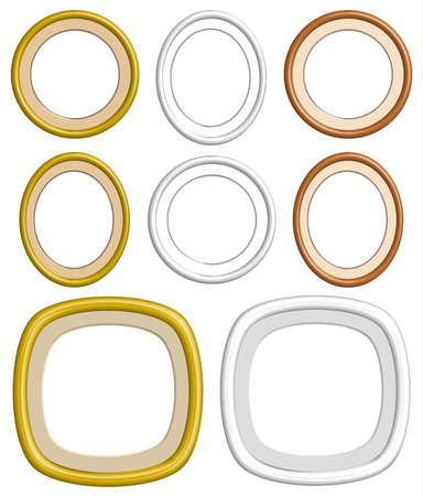 Beautiful Golden, Wooden Circle And Oval Of Frames For Collection ...