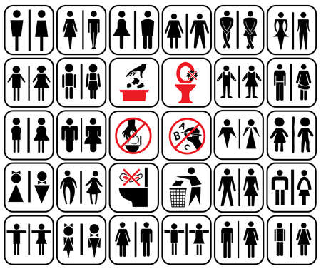 wc: modernen Stil der Toilettenzeichen mit Baby, Männer, Frauen, schwangere Frauen, im Alter, in der Kunst-Stil Design und Zugang Einsatz Warnung im WC Behinderte, Vektor-Set Illustration
