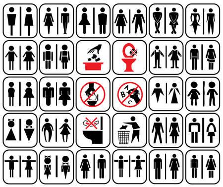 divieto: stile moderno di servizi igienici segno con bambini, uomini, donne, donne incinte, anziani, handicap nella progettazione e nell'uso di accesso in stile art avviso in toilette, vector set
