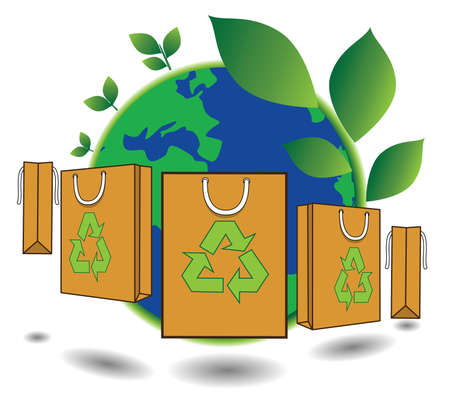 paper shopping bag for green world, reduce, reuse and recycle for save world, conservation concept Vector