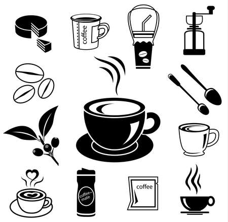 brain works: coffee icon set with accessory and ingredient of cup, glass, bean, sugar, bag, mug, grinder, package, spoon, cake, can for break foods, relaxation, works and fresh mind and serene brain