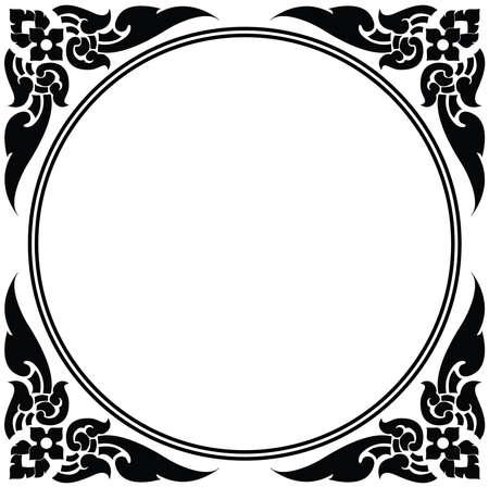 Artistic circle frame of Thai pattern vector Vector