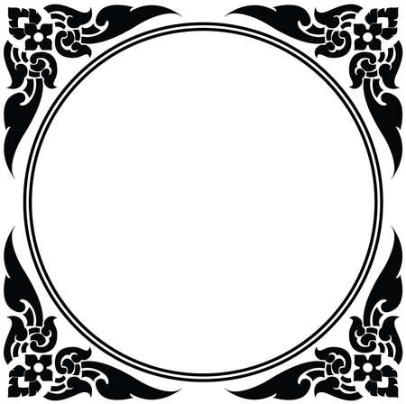 Artistic circle frame of Thai pattern vector