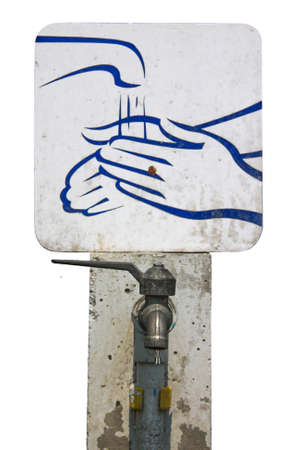 hand wash sign with faucet and drop for healthy concept photo