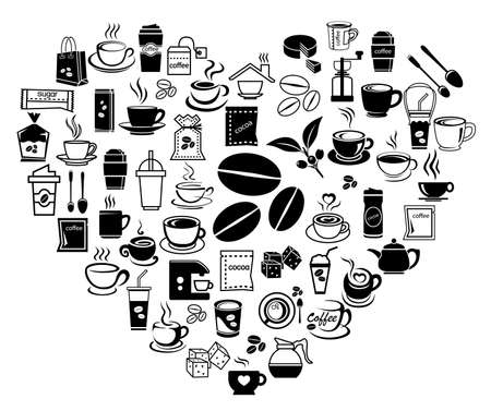 glass break: coffee icon set with accessory and ingredient of bean, jar, cup, jug, glass, sugar, bag, mug of break foods for relaxation,works and fresh mind and good idea