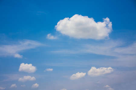 clound: beautiful fresh, bright clouds with blue sky in bright day for scene and background Stock Photo