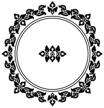 Beautiful artistic circle frame of Thai pattern vector Illustration