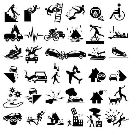 flood: accident icons set for insurance, falling ladder, slippery, gas explosion, stumble, risks, cancer, bites, plane crash, thief, blast, murder, war, wheelchair, earthquake, building collapse, splint. car