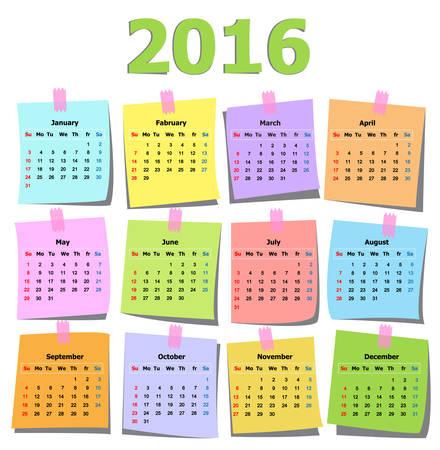 colorful calendar 2016 on note page paper illustrator Illustration