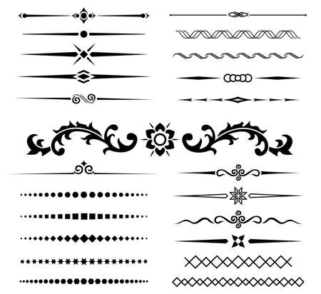 calligraphic design of elements style set for decoration page and type
