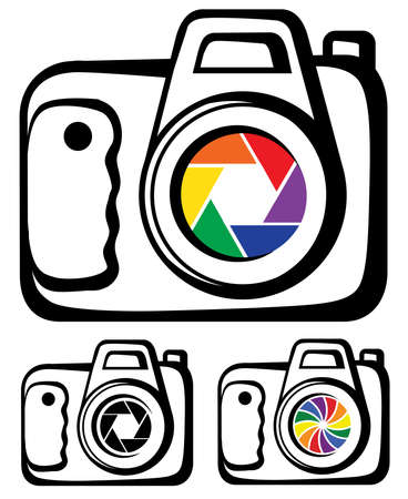 art dslr camera icon with colorful shutter set