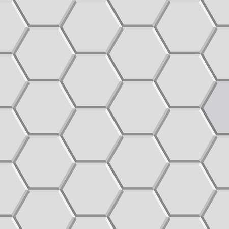 tiles floor: 3d hexagon pattern block of gray stone tile for floor construction model Illustration