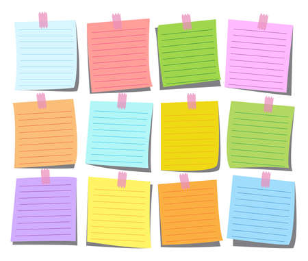 colorful note paper set for memo, post message and notice