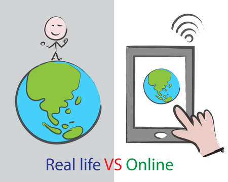 world of real life VS online concept, social media and internet addiction on smart phone, cartoon sign for lifestyle Illustration