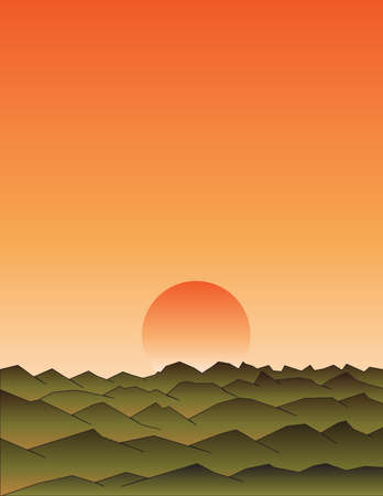 orange sunset: orange sunset with beautiful mountains