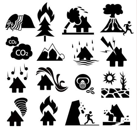 disaster: natural disaster icon set Illustration