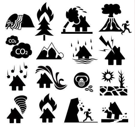 natuurramp icon set