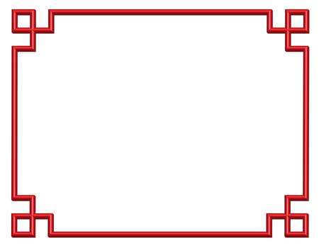 3D red chinese pattern border frame, illustration Illustration