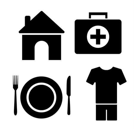 4 Grundbedürfnisse des Menschen Icon-Set Vektorgrafik