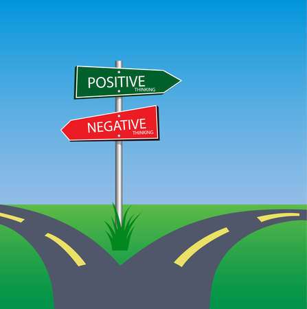 outlook: positive and negative sign on road way, choice concept