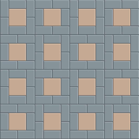 3D brick pavement tile floor seamless pattern for decoration and design. vector illustration