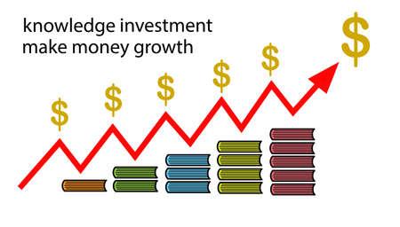 la inversión en conocimiento hace que el crecimiento del dinero Ilustración de vector